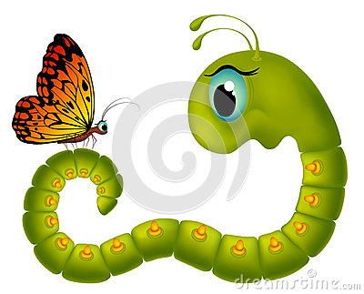 Cartoony goggle-eyed caterpillar looking at a butt
