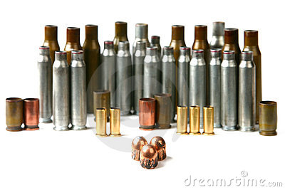 Cartridge case and bullets