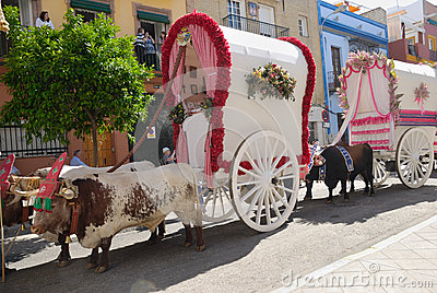 Carts Pilgrimage El Rocio Editorial Stock Image