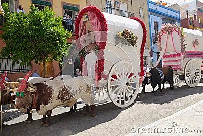 Carts Pilgrimage El Rocio Editorial Stock Image