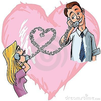 Cartton couple chatting on the phone