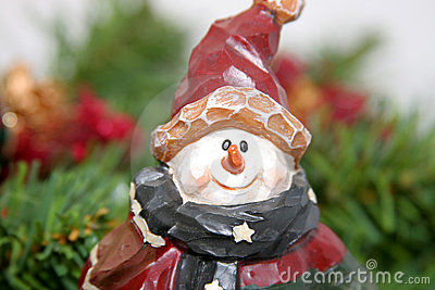 Carved Christmas snowman