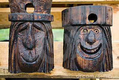 Carved Faces Birdhouses