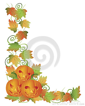 Carved Halloween Pumpkins and Vines Border