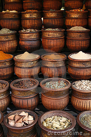 Free Carved Handmade Pots Of Spices, Morocco Stock Photography - 10855402