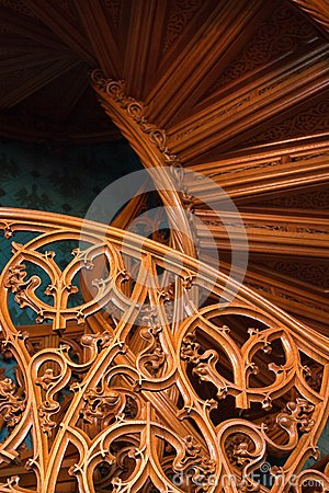 Carved Pattern of an Old Wooden Stairway