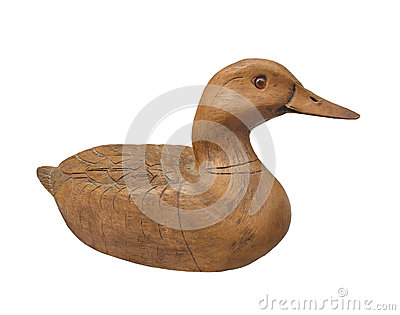 Carved plain wooden duck isolated.