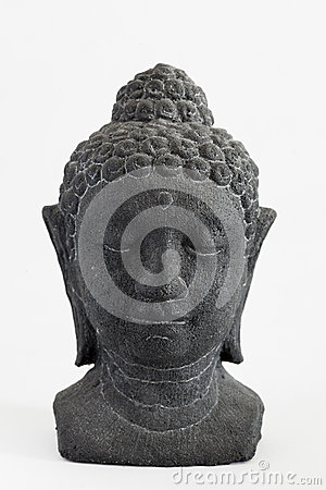 Carved stone face of Buddha