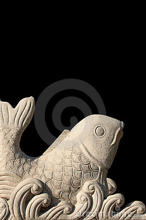 Carved stone fish
