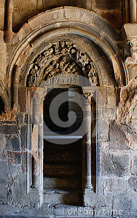 Carved tympanum in the monastery of Carracedo