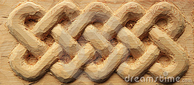 Carved wood celtic interlace