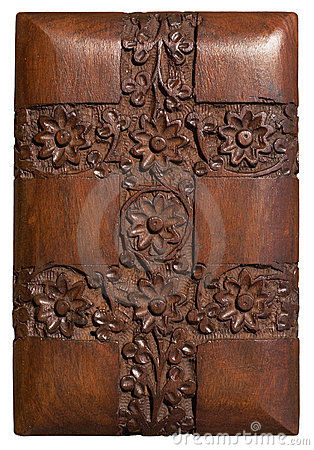 Carved wood decorative floral panel