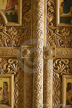 Carved wood details in church