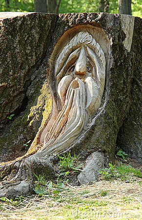Carved wood face