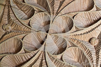 Carved wood panel detail