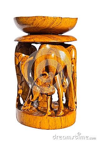 Carved Wooden Candle Holder