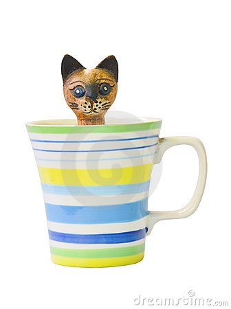 Carved wooden cat in the colorful glass ceramic.