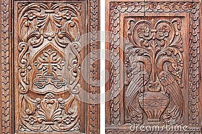 Carved wooden door