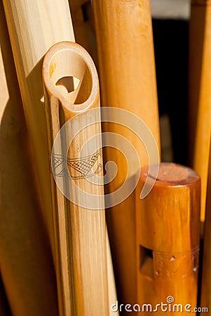 Carved wooden flutes