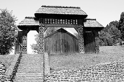 Carved wooden gate (Maramures, Romania)