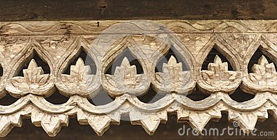 Carved wooden lattice work with Thai style pattern art.