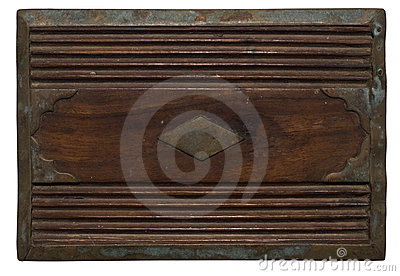 Carved wooden panel with distressed stained metal
