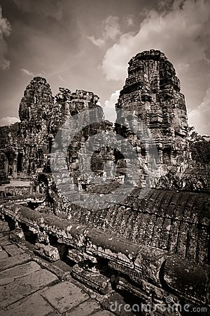 Carving of Bayon Temple at Angkor in Cambodia