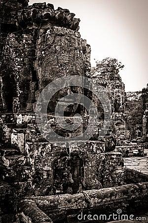 Carving of Bayon Temple at Angkor in Cambodia