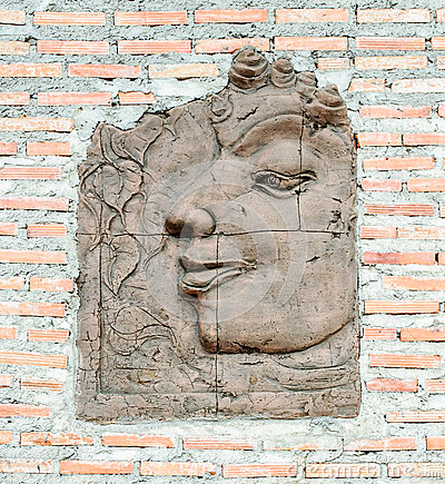 Carving of Buddha face