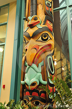 Carving face on a totem pole