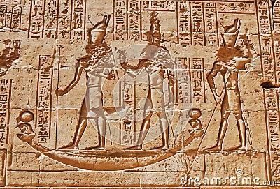 Carving of hieroglyphs at Edfu Temple