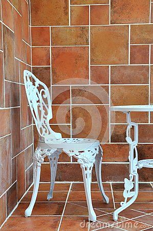 Carving iron table and chair