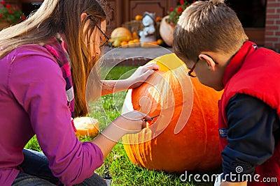 Carving jack-o-lantern