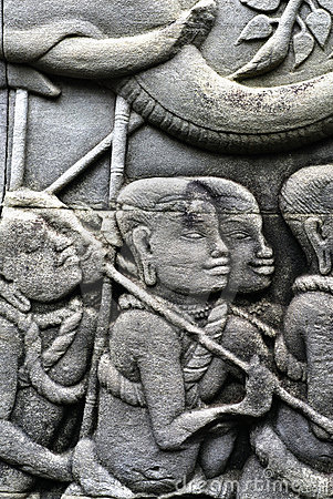 Carving on the walls of Angkor Thom
