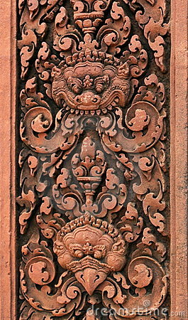Free Carvings. Banteay Srei Temple. Angkor. Cambodia. Royalty Free Stock Photos - 12241488