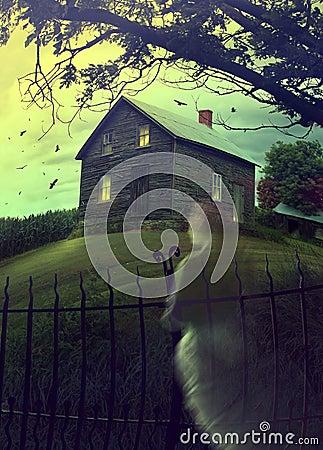 Casa assombrada abandonada no monte com fantasma
