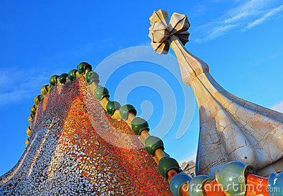Casa Batllo details by Antonio Gaudi Editorial Stock Photo