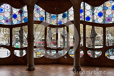 Casa Batllo interior.Decorated windows. Antonio Ga Editorial Image