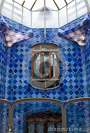 Casa Batllo interior.Mozaic on the walls. Antonio Editorial Image