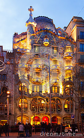 Casa Batllo in night. Barcelona Editorial Photography