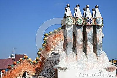 Casa Batllo s roof fragment by Antoni Gaudi.