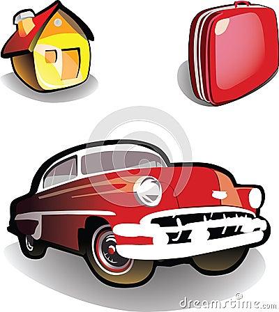 Casa, carro, mala de viagem - ícones