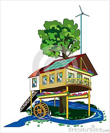 Casa com fontes de energia alternativas