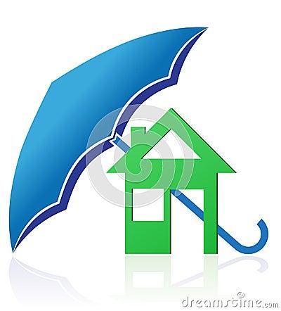 Casa con el ejemplo del vector del concepto del paraguas