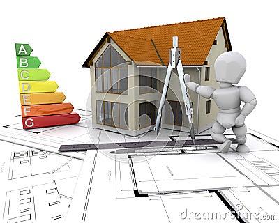Casa con el grado de la energía