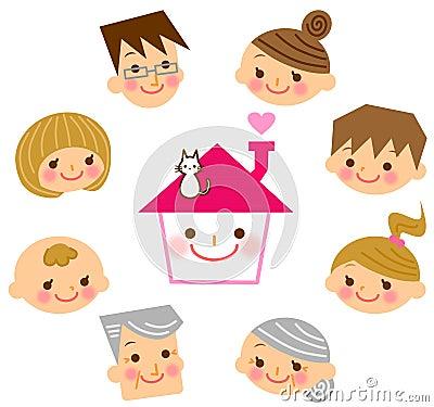 Casa con la sua famiglia