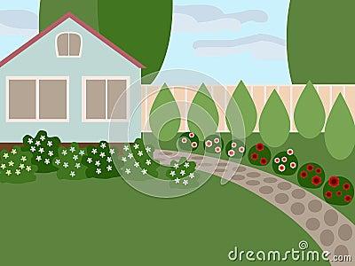 Casa de campo con el césped