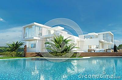 Casa de lujo con un jard n y una piscina tropicales stock for Imagenes de casas con piscina y jardin