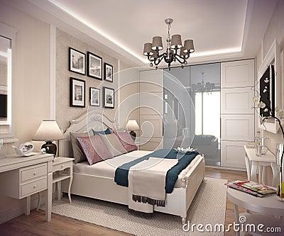 casa della camera da letto della rappresentazione 3d nella