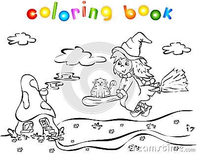 Casa della strega e del fungo di volo illustrazione for Fungo da colorare per bambini